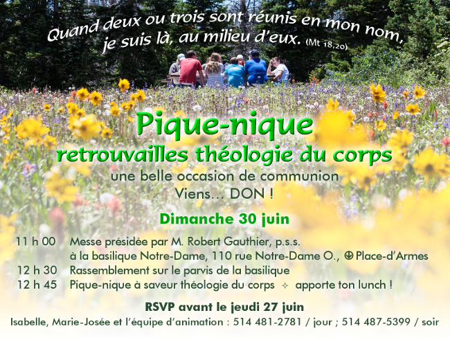 Pique-nique retrouvailles théologie du corps – 30 juin